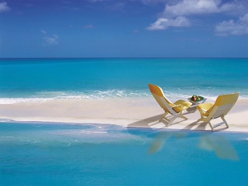 Beautiful Beach Chairs Water Sand